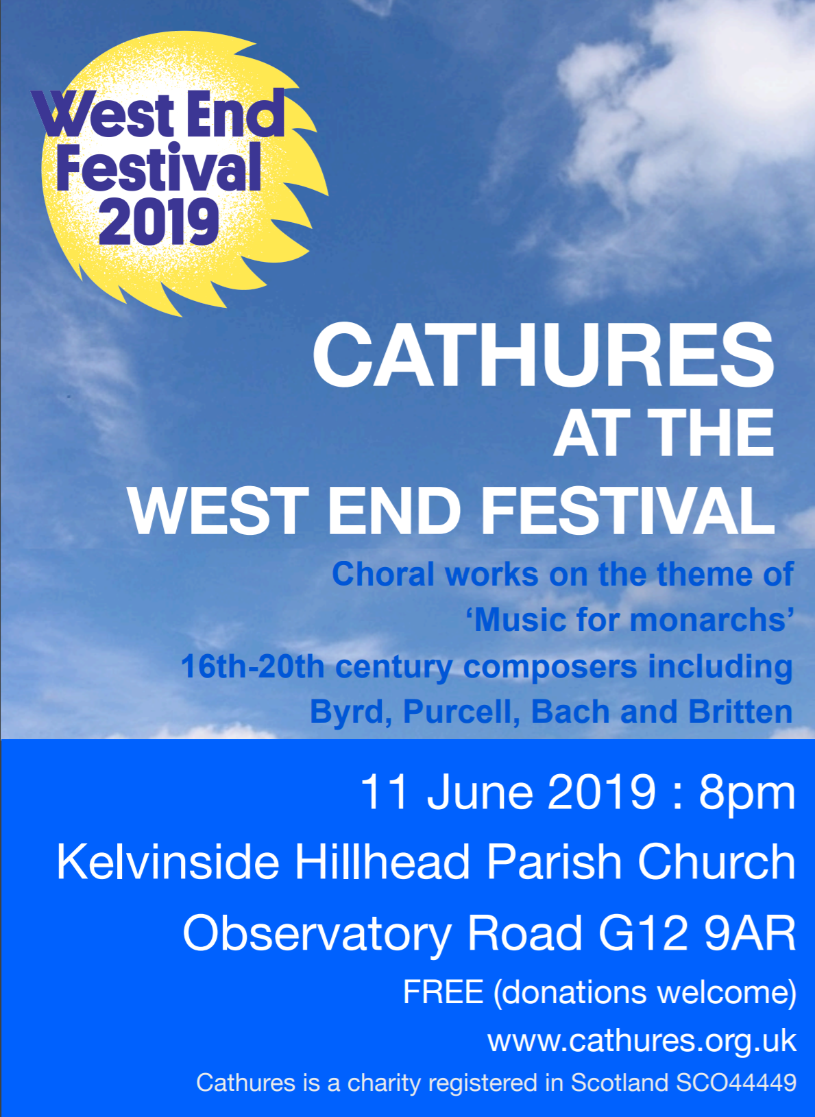 Cathures in concert Kelvinside Hillhead Parish Church, Tuesday 11th June 8pm