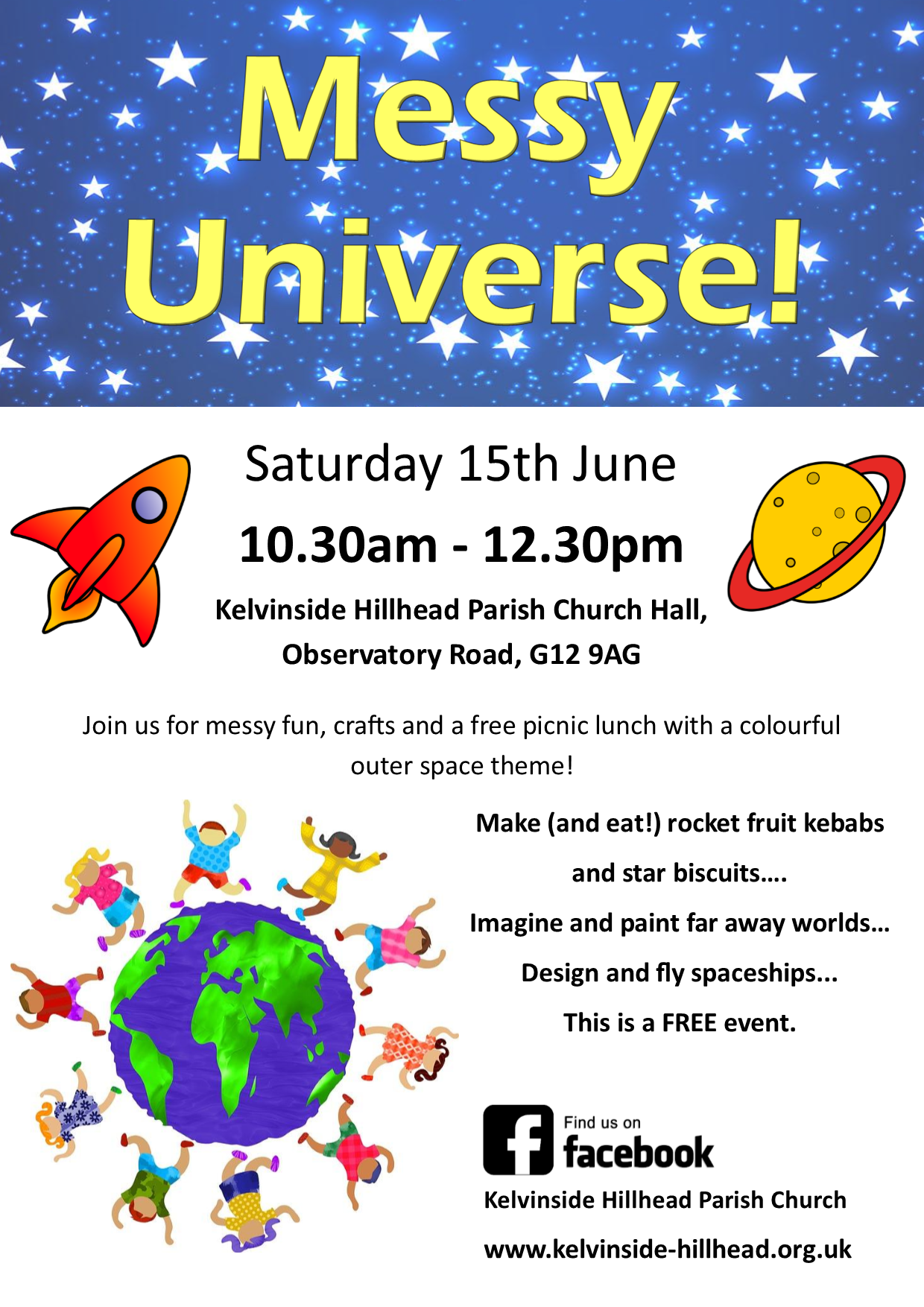 Messy Universe! Space-themed craft and baking activities. Free event, all welcome.